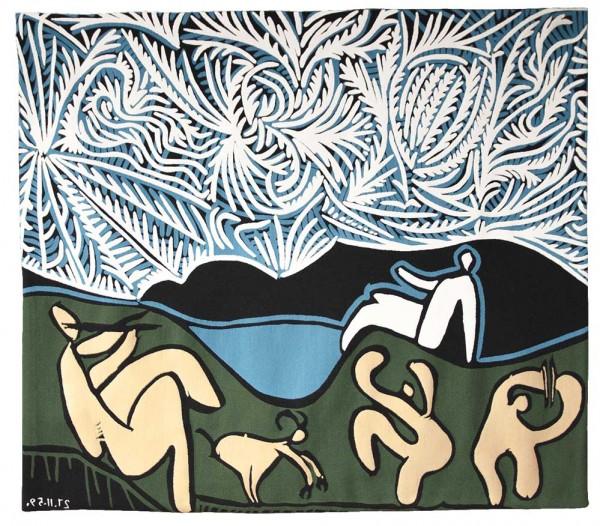 Jules-Pansu-Picasso-Wandteppich-Bacchanale avec Chevreau et Spectateur