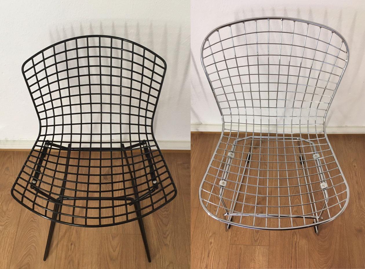 Vergleich Schale der Bertoia Chairs