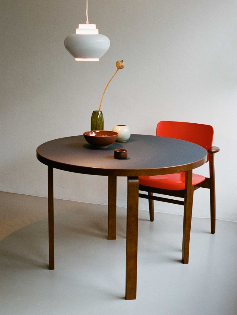 2383497_Domus_Chair_walnut_stained_bright_red_lacquer_Aalto_Table_round_blue_linoleum_Pendant_Light_A333_CMYK_masterkoeLyXUjrEWvr