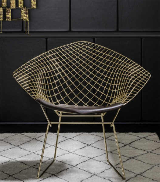 Knoll Diamond Sessel 421 Gold Edition I Harry Bertoia I Knoll
