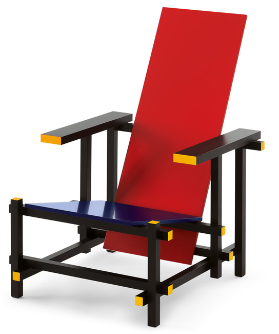 red and blue chair von gerrit rietveld cassina markanto. Black Bedroom Furniture Sets. Home Design Ideas