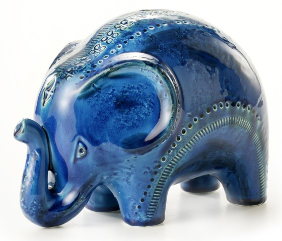 Bitossi-Rimini-Blu-Miniaturen-Aldo-Londi-Elefant