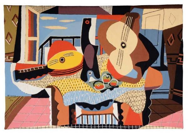 Jules-Pansu-Picasso-Wandteppich-Mandoline et Guitare